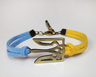 Ukraine Symbol Trident Bracelet, Ukraine Flag Bracelet Gold, Antique Bronze, Antique Silver Charm Bracelet, Ukraine Jewelry, Ukraine gift
