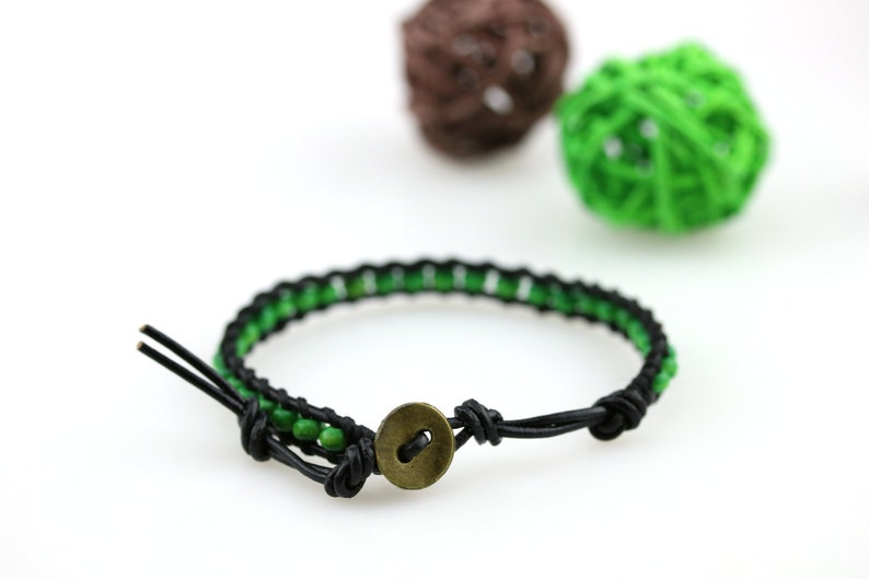 Olive green bracelet Green leather wrap bracelet Fall leather bracelet Green stackable bracelet Wood bead yoga bracelet Olive green jewelry