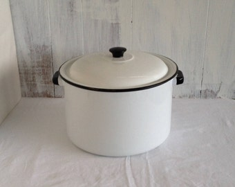 Enamel Pot Soap Making with Lid Giant Enamel Pan Roasting Pan Enamel Roasting Pot Vintage Large Enamel Kitchen Pot Enamel Cooking Pot