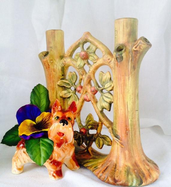 Vintage Pottery Stump Vase Double Tree Stump Vase Vintage Etsy
