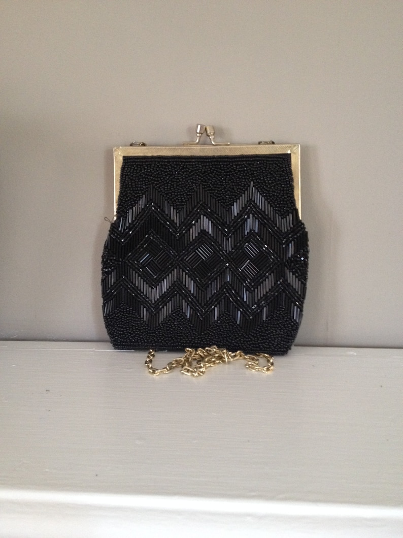 07025488bc3c7 Purse Shoulder Bag Beaded Evening Bag 1950 s Vintage Black