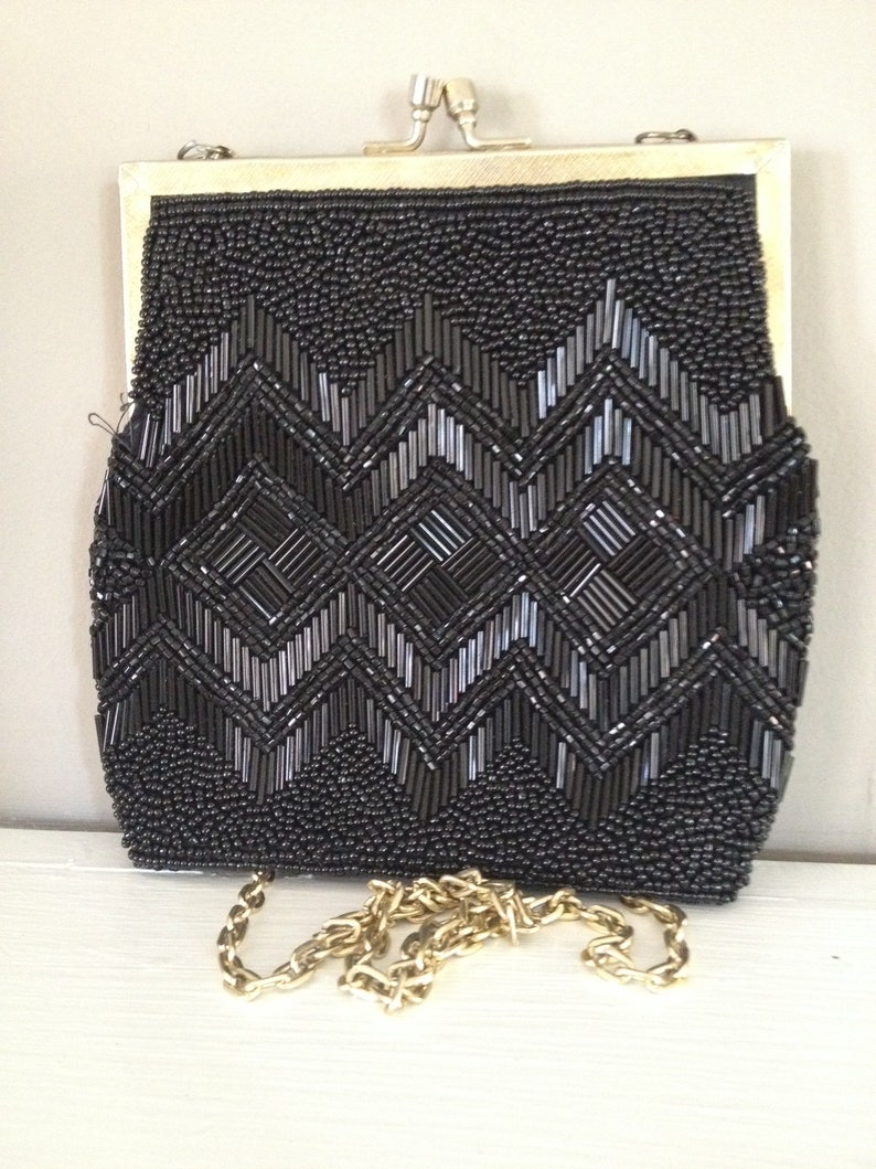 1a69e0303ea2e Purse Shoulder Bag Beaded Evening Bag 1950 s Vintage Black Purse Evening  Shoulder Bag Vintage Beaded Handbag Shoulder Purse Chain Link Strap