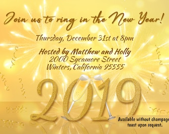 new years invite golden fireworks new years invitation 2019 new years 2019 new years eve party new years champagne toast