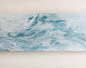 "12""x36"" - ""Blue Wave"" Acrylic Painting"