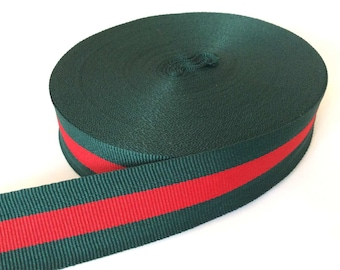Striped red green grosgrain ribbon gucci style trim 1
