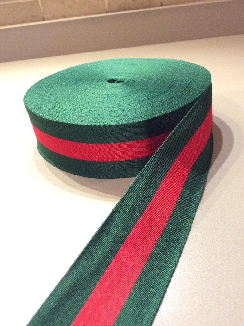 9e3fd300130 Striped ribbon red green grosgrain gucci style trim 1