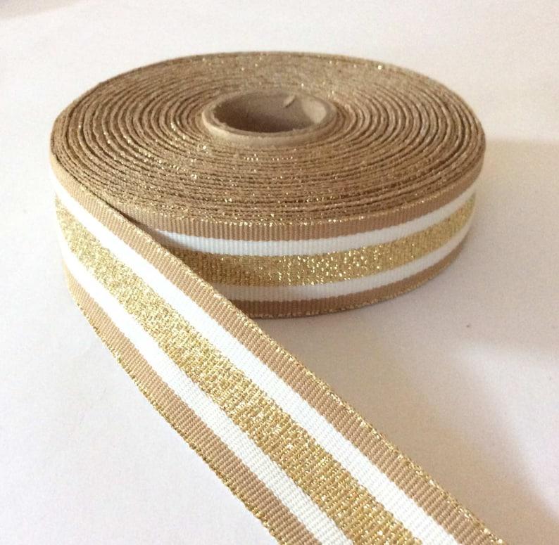 bc18e4de0c7 Striped ribbon gold beige grosgrain trim 1 25mm.