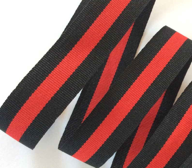 13f8231eb31 Striped ribbon black red grosgrain gucci style trim 1
