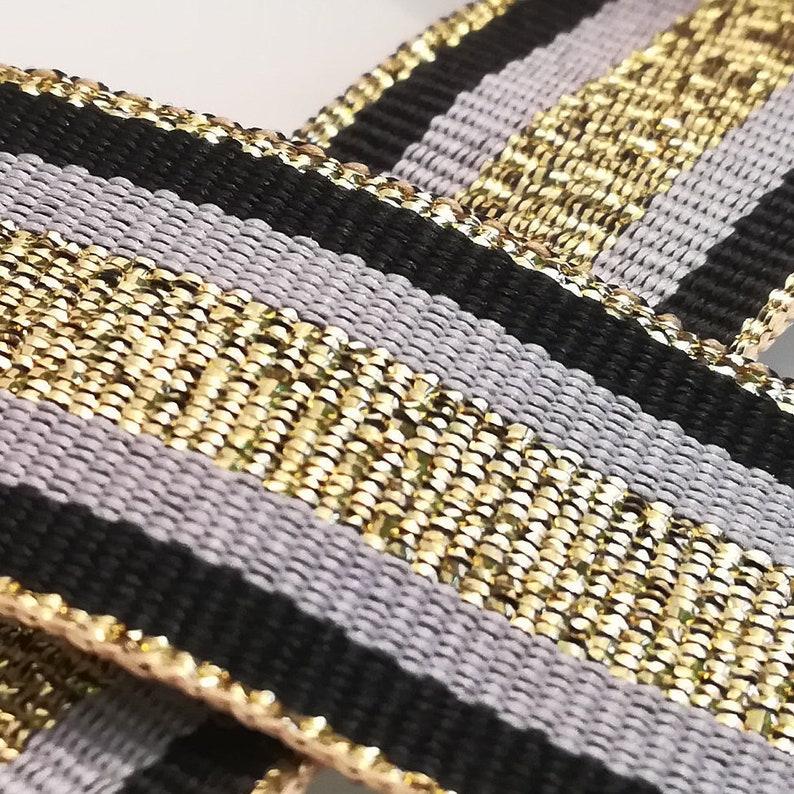 925436167ae Striped ribbon gold black gray grosgrain trim 1 25mm.