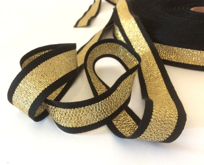 5268cf18e0e Striped ribbon gold black grosgrain gucci style trim 1