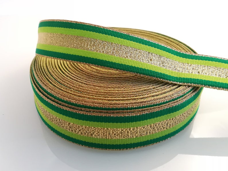 8c5c311a95a Striped ribbon gold green grosgrain trim 1 25mm.