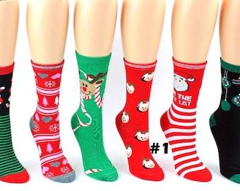 womans 6 pack of christmas socks holiday socks funny christmas socks - Funny Christmas Socks
