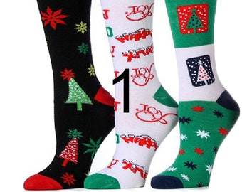 womans 3 pack christmas socks womans holiday socks fun colorful socks - Funny Christmas Socks