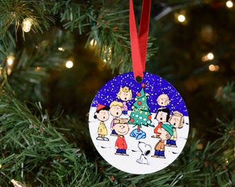 charlie brown and snoopy on christmas ornaments