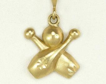Estate 14K Yellow Gold Diamond Cut Bowling Pins & Ball Pendant Charm