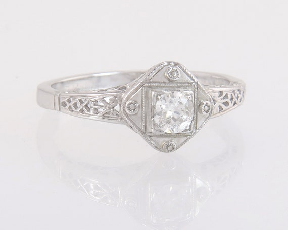 Antique Estate .08ct Genuine Diamond 14K Rose Gold Art Deco Engagement Ring
