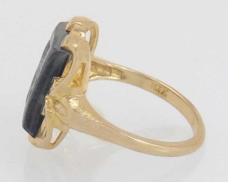Antique Vintage Estate 10K Yellow Gold Centurion Soldier Carved Hematite Art Deco Ring 4.6g