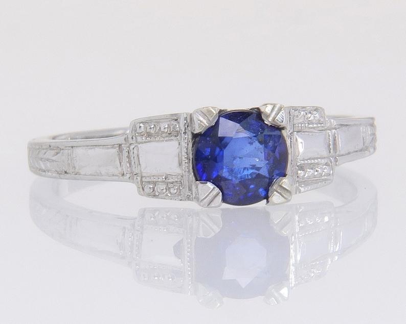 Antique Art Deco Large Simulated Sapphire /& Diamond Ring Jewellery Blue 6~10 UK
