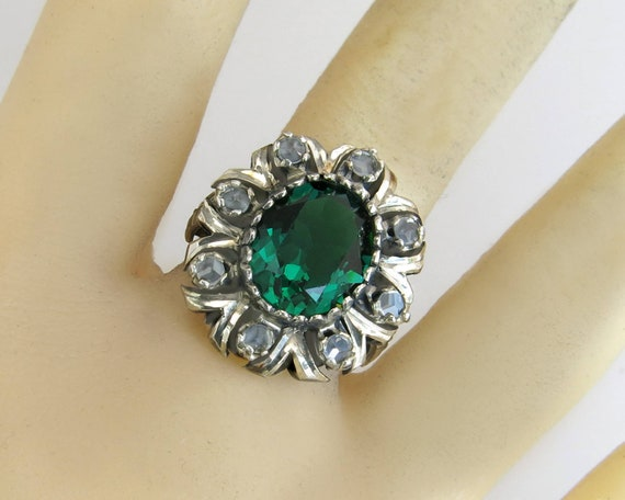 2.40ct ROSE CUT DIAMOND ONYX ANTIQUE VICTORIAN LOOK 925 SILVER COCKTAIL RING