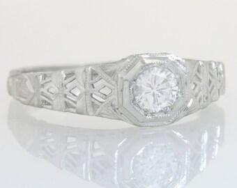 Antique Ring O Romance Art Deco .28ct Genuine Diamond 18K Gold Engagement Ring