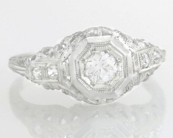 95cd6cbb16c8d Antique Estate Art Deco .25ct Genuine J SI2 Diamond 18K White Gold Filigree  Engagement Ring 2.9g