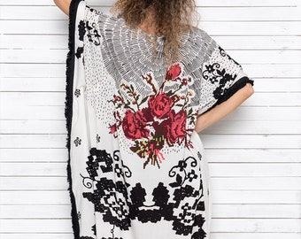 Maxi Caftan, Summer Dress, Party Robe, Long Caftan with side opening, Maxi Beach Cover Up, Resort Wear, Boho Dress, MEXICANA