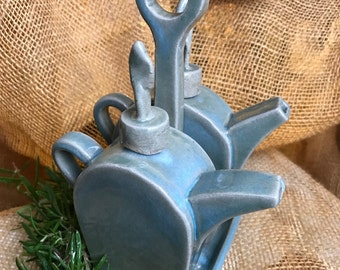 Ceramic Rustic Vintage Oil & Vinegar Cruet Set with Serving Caddy, Handmade