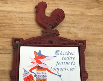Vintage Cast Iron Trivet, Rooster and Fox Design