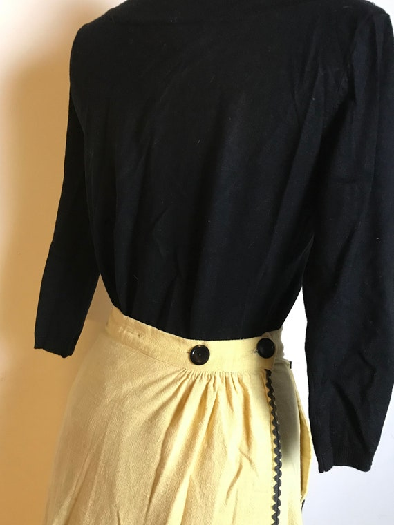 Handmade Yellow Cotton Skirt with Black Ric Rac D… - image 4