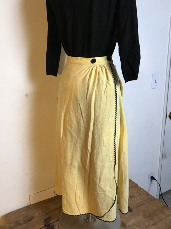 Handmade Yellow Cotton Skirt with Black Ric Rac D… - image 3