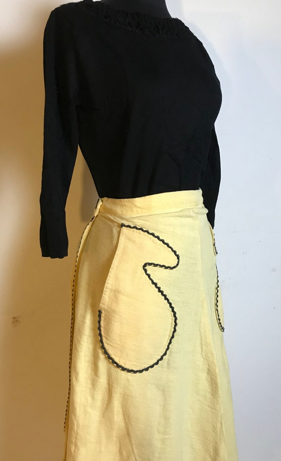 Handmade Yellow Cotton Skirt with Black Ric Rac D… - image 2