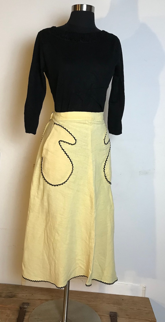 Handmade Yellow Cotton Skirt with Black Ric Rac D… - image 1