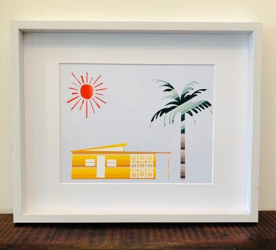 Midcentury Modern House Illustration Printable PDF