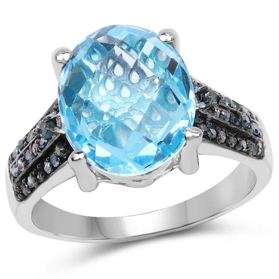 5.51 Carat Genuine Baby Swiss Blue Topaz and Blue Diamond .925  815cabe82