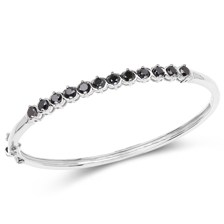2 10 Carat Genuine Black Diamond 925 Sterling Silver Bangle