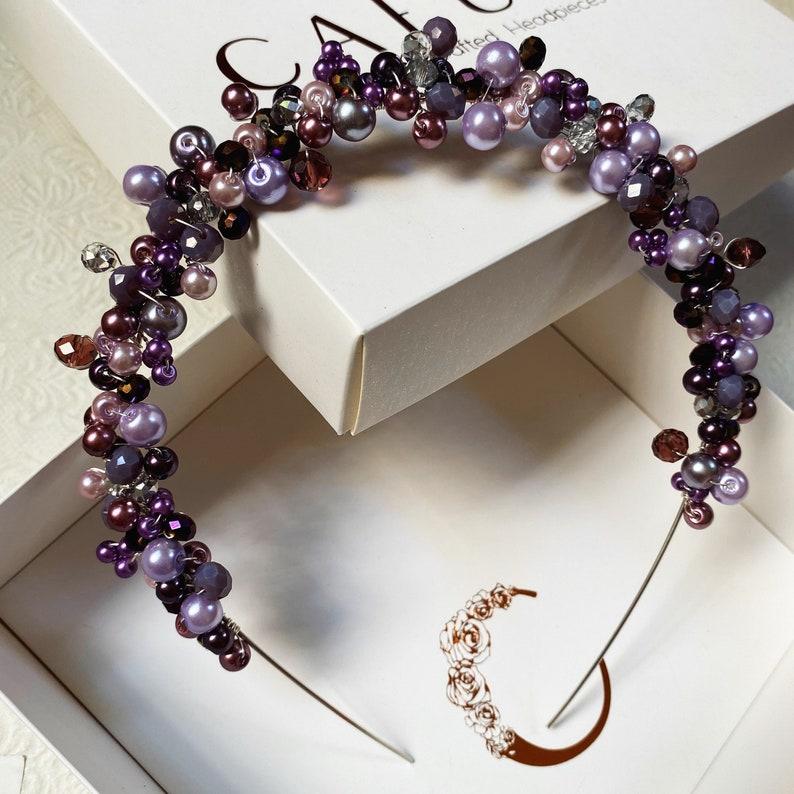 hair accessory gift pearls jewelry headband hand made Purple  tones with hints of silver pearl rhinestone Cafun\u00e9 headpiece crown