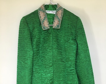 Vintage French Collizioni Jacket / Blazer / Green / Beading / Flower / Embroidery / Green and Gold / Jacket / Retro