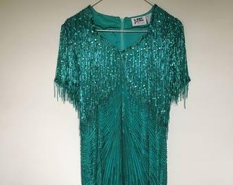 1980s Lime Nite fully beaded dress / fringe dress / fringe / vitnage