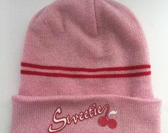 13fd1967099 Vintage Beanie   Hat   Cherries   Sweet   Glitter   Pink   Red   Cherry   Slouchy  Hat