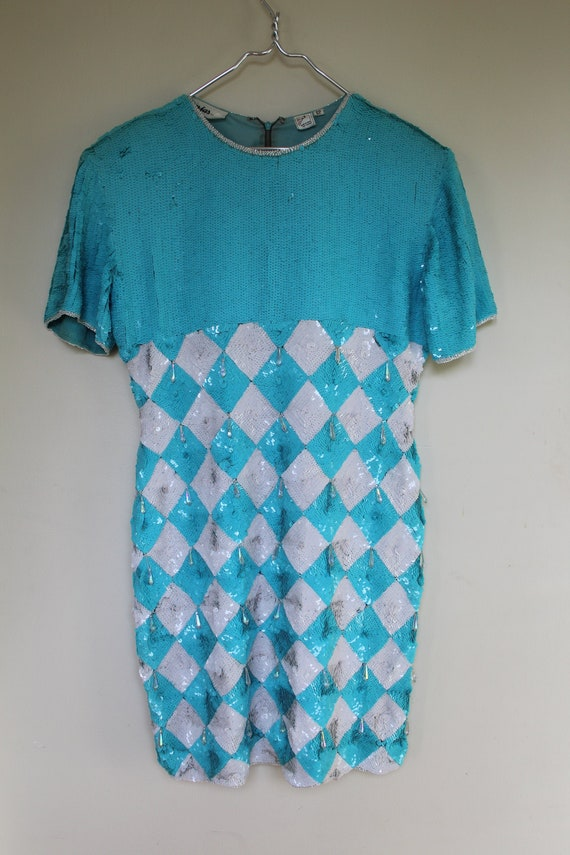 Vintage 1980's Jasjas New York Sequins Dress / Sil