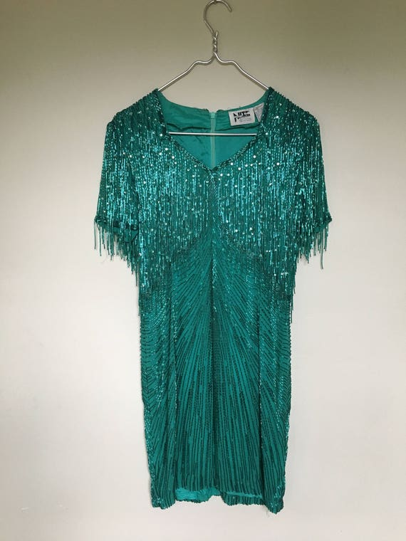 1980s Lime Nite fully beaded dress / fringe dress