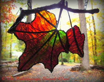 Autumn Maple Branch Duo- Stained Glass