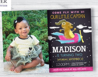 Airplane Birthday Invitation with picture (girl)