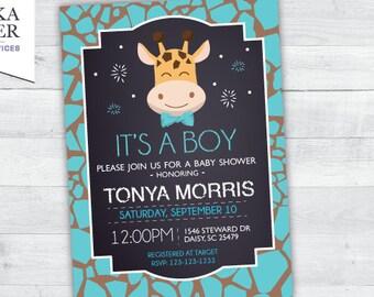 Giraffe Baby Shower Invitation (blue)