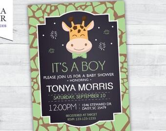Giraffe Baby Shower Invitation (green)
