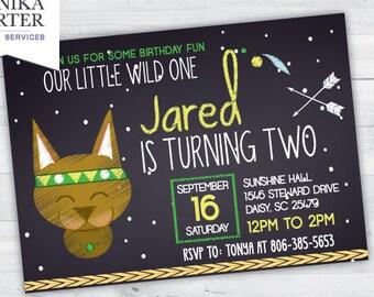 Tribal Cat Birthday Party Invitation (boy)