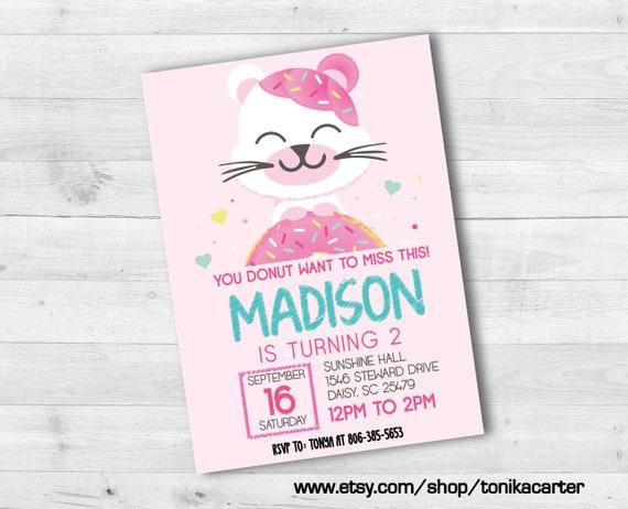 Donut Bear Birthday Party Invitation Pink Girl Girly