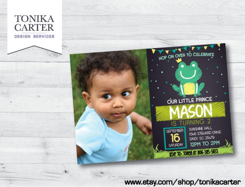 Green Frog Chalkboard Birthday Party Invitation with picture Boy Prince Frog Green Party Theme Invite Custom DIY