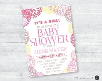 Pink Flower Baby Shower Invitation
