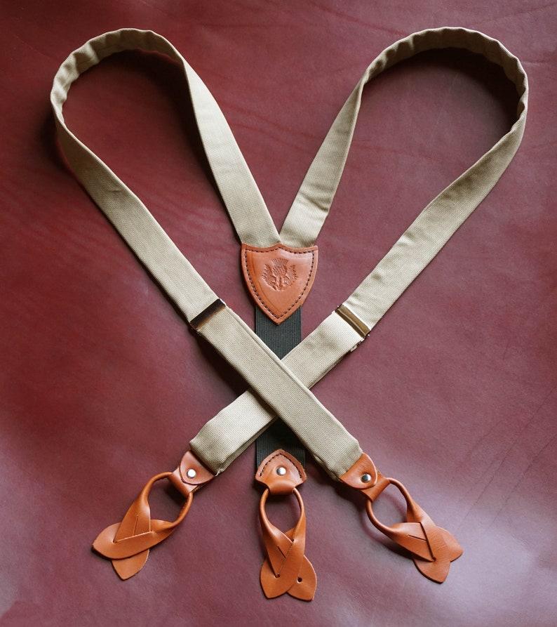 Men's Vintage Style Suspenders Braces Handcrafted Mens Suspenders/Braces. Camel Tan 100% Wool Fabric. Chestnut Leather Button Ends  AT vintagedancer.com